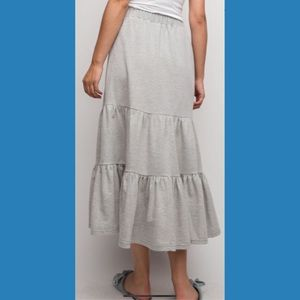 Wife of Eric Skirts - French Terry Knit Ruffle Maxi Skirt PRICE FIRM